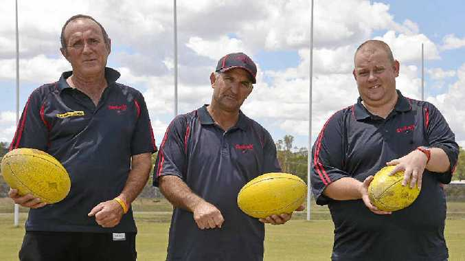 Warwick Redbacks women's coach Keith Clarke, first-division men's coach Brendan Walker and new president Adam Colrain at Reddies Oval.