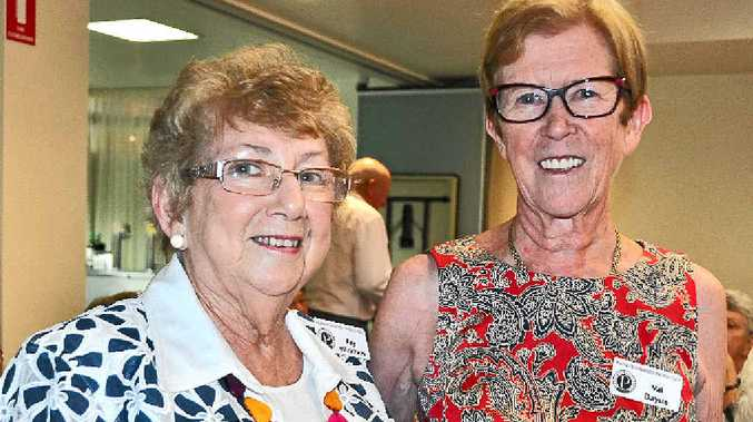MERRY GATHERING: Warwick Probus Club member Faye Wickham, and president Val Dayus at the club's Christmas break-up at the RSL Memorial Club yesterday.