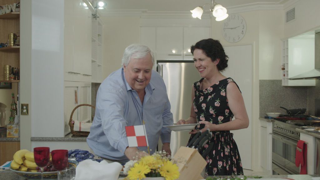 Clive Palmer and Annabel Crabb in a scene from the TV series Kitchen Cabinet. Supplied by ABC TV.