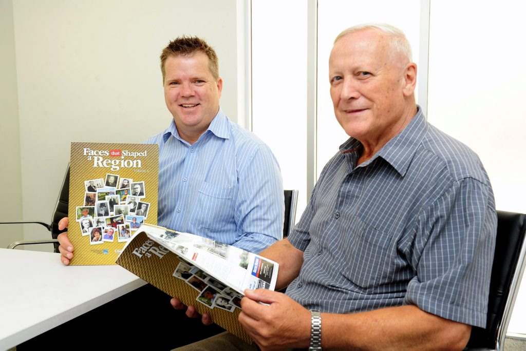 Fraser Coast Chronicle's Darren Bosley and Alan Betteridge with copies of Faces that Shaped a Region.