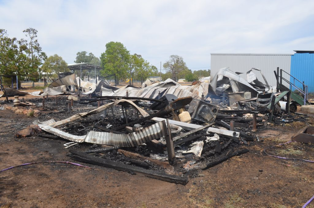 What is left of a house at Condamine after fire.