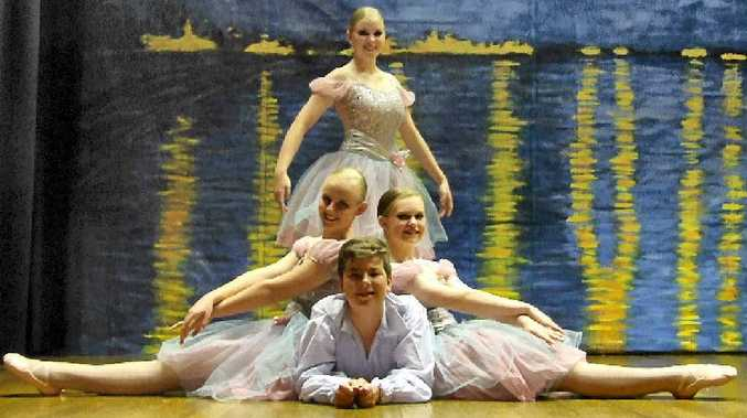 Ready for The Dance Centre – Warwick showcase tonight and tomorrow are members of the senior ballet class (clockwise, from top) Tysharna Wright, Eve Kelly, Lachlan Doherty and Alexis Carey.