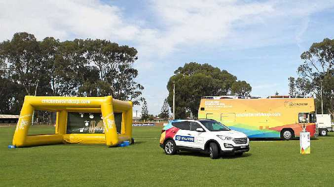 The Cricket World Cup, and associated activities, pictured on tour at Esperance, Western Australia, will be in Warwick on Sunday.