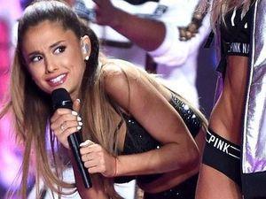 Ariana Grande hit by Victoria's Secret Angel's wings.