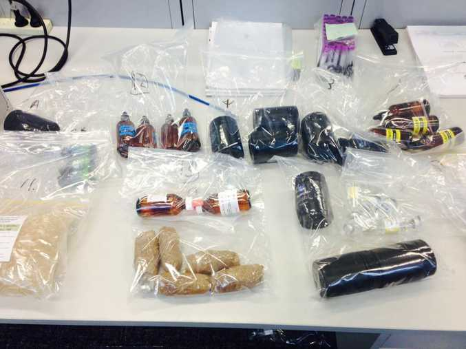 Some of the drugs and steroids seized by police during raids. Photo: Queensland Police