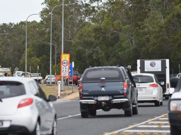 Traffic on Hervey Bay Burrum Heads Rd near the intersection with Scrub Hill Rd.