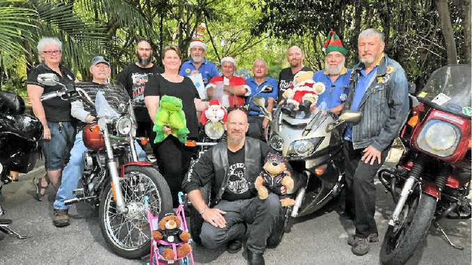 THEY COME BEARING GIFTS: Gladstone Ulysses members Clyde Luck, Archie Draper and Chris Hixon are all geared-up for this year's Toy Run on Saturday, December 6.