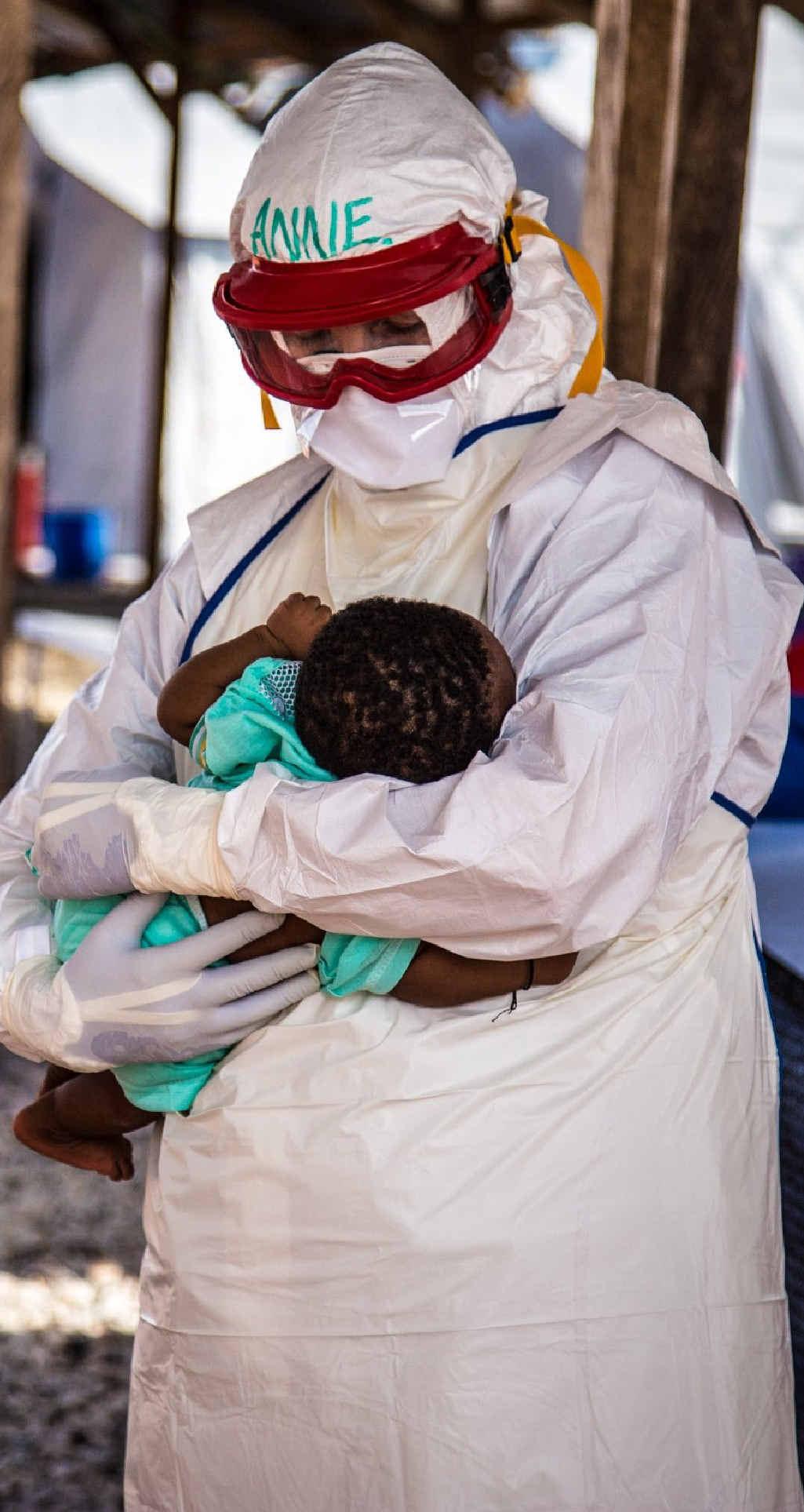 HELPING: Former Sunshine Coast nurse and Red Cross Australia volunteer Anne Carey working with Ebola victims in Sierra Leone.