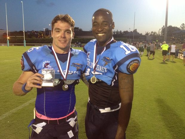 STAR Canadian import Kevin Walsh (right, with Sun Bowl MVP and Gold Coast teammate Damien Molloy) believes gridiron in Queensland is strong.