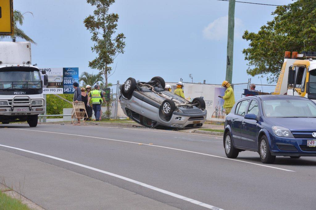 Car accident on Bli Bli Road. Photo: John McCutcheon / Sunshine Coast Daily