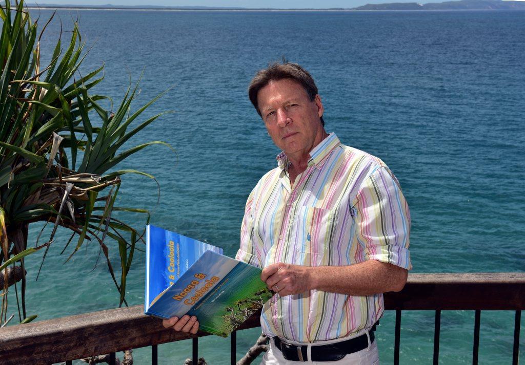 Noosa Councillor Tony Wellington with his new book. Photo Geoff Potter / Noosa News