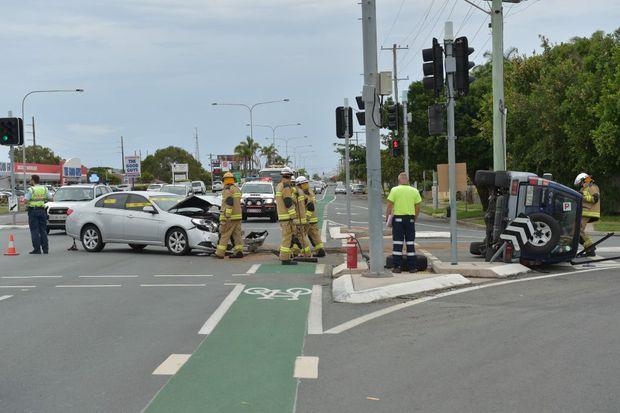 Traffic crash on the Nicklin Way on the corner of Minkara Street. Photo: Brett Wortman / Sunshine Coast Daily