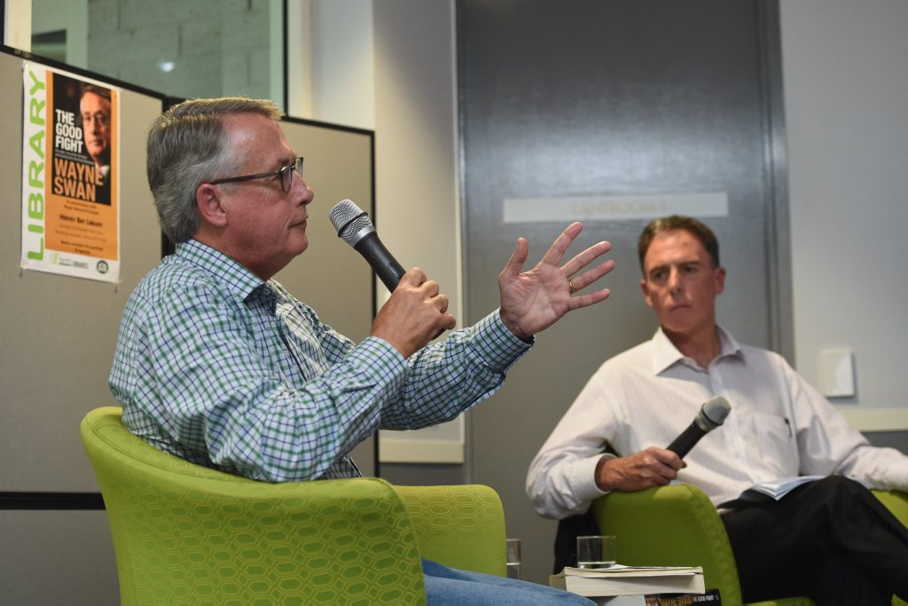 Former treasurer Wayne Swan at the Hervey Bay Library talking with Fraser Coast Mayor Gerard O'Connell.
