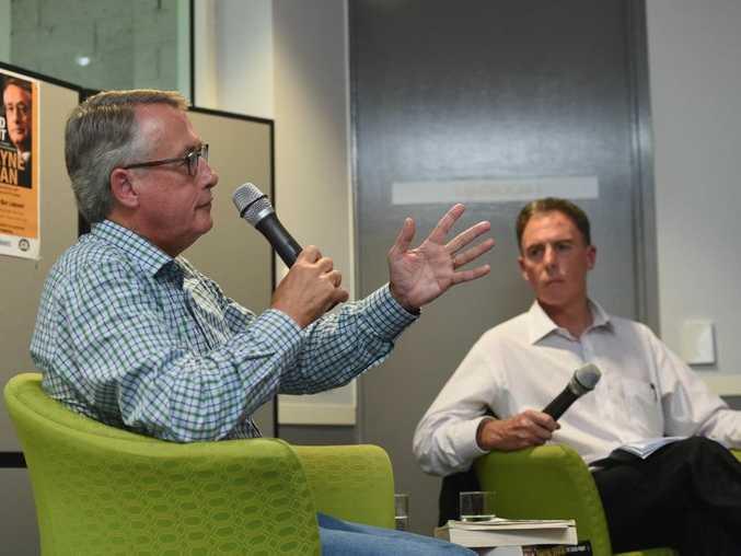 Former treasurer Wayne Swan at the Hervey Bay Library talking with Fraser Coast Mayor Gerard O'Connell.