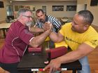 Robert Fox, left, and Doug Fatafehi face off in the first of what they hope will be many arm wrestling competition nights at the Caloundra Lighthouses Rugby Union clubhouse. Robert is the Australian champion in the over 50's division and Doug is Australian super heavy weight champion and the country's number one ranked arm wrestler. Photo: Brett Wortman / Sunshine Coast Daily