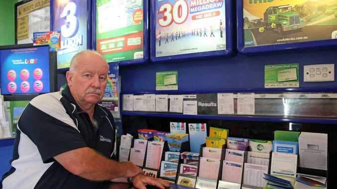NUMBER'S UP? Woolgoolga Newsagency owner Geoff Rogers says many small businesses will be forced to close if Coles and Woolworths get the rights to the sale of lottery tickets.