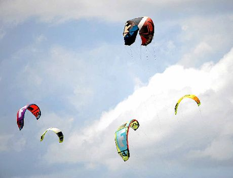 Kitesurfers enjoy the wind.
