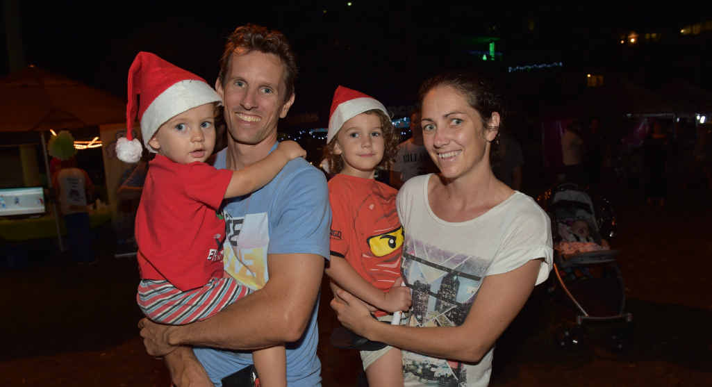 Tom and Kylie McNamara with their boys Eli, left, and Issac at Carols at Cotton Tree.