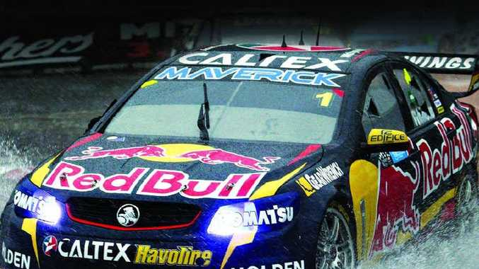 Jamie Whincup drives his Holden during the last race of the Sydney 500 yesterday.