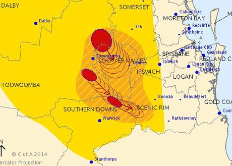 Severe thunderstorms roll across the Darling Downs.