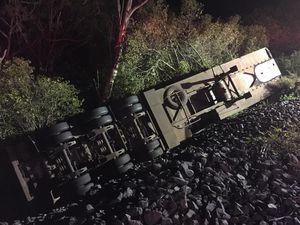 Truck loses banana load off side of Toowoomba Range