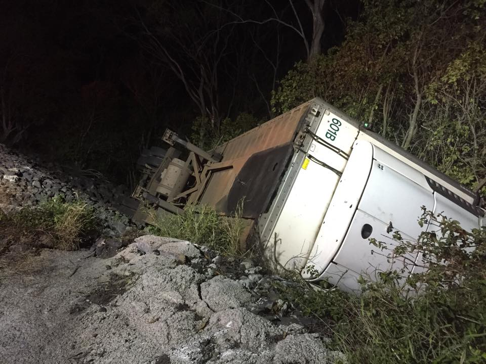 Emergency services were called to recover this trailer from the side of the Toowoomba Range.