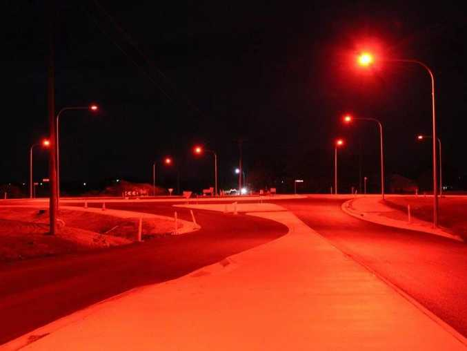 SEEING RED: Community members have raised concerns about the turtle friendly red street lights at the new Rifle Range and Windermere Rds roundabout. Photo Contributed