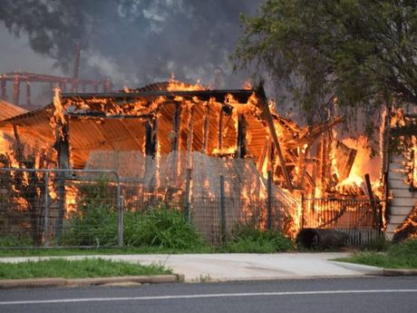 Fire tears through a house at Brigalow on the western Darling Downs.