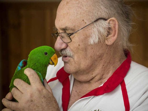Jim Beaton with his parrot
