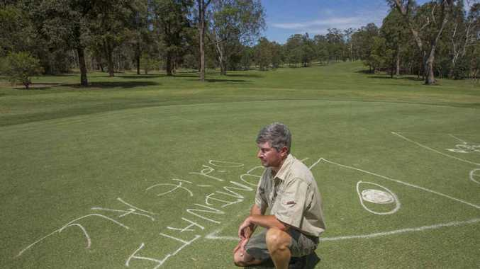 DISAPPOINTED: Grafton District Golf Club greenkeeper Dean Niland on the green. PHOTO: ADAM HOURIGAN