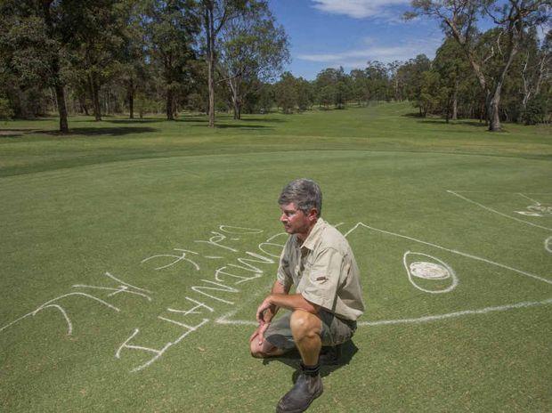 DISAPPOINTED: Grafton District Golf Club greenkeeper Dean Niland on the green. PHOTO: ADAM HOURIGAN
