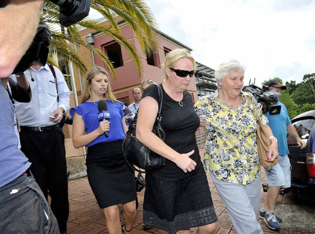 UNHAPPY: Ellen Field, wife of Craig Field, leaves Lismore Court after the jury found Field guilty of manslaughter yesterday.