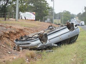 Wheels removed from car after crash on M'boro-Hervey Bay Rd