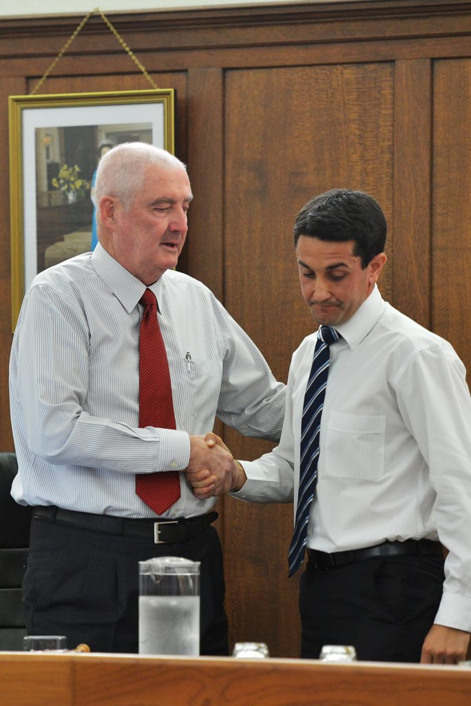 Gympie Regional Council Mayor, Ron Dyne, announces his resignation due to ailing health.Mayor Dyne with Local Government Minister David Crisafulli. Photo: Greg Miller / Gympie Times