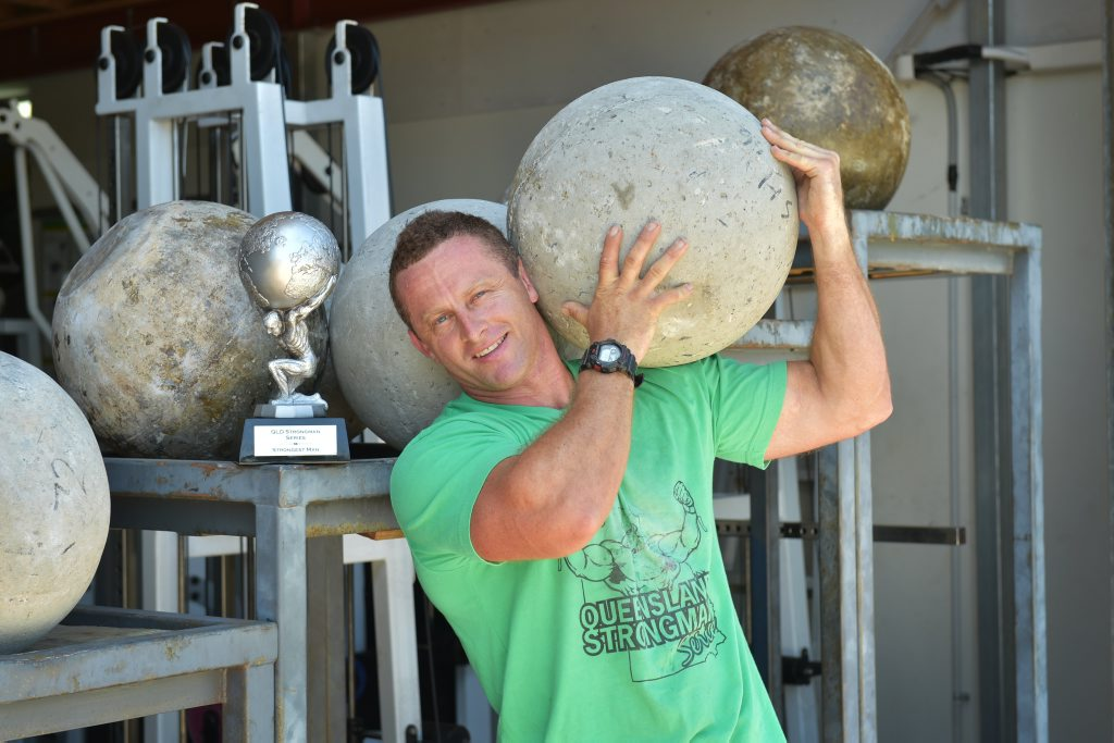 Owner of the Muscle Hut, Scott Hipwell, has just won the Queensland Strongest Man series. Photo: Brett Wortman / Sunshine Coast Daily