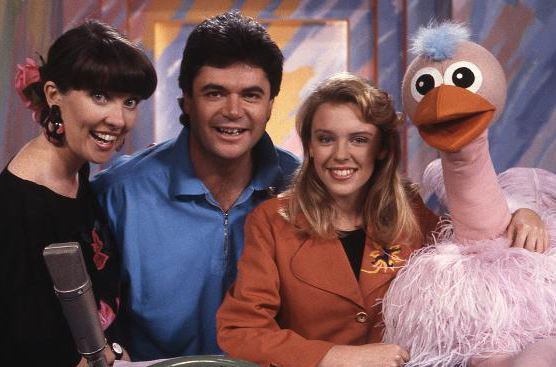 Jackie MacDonald, Daryl Somers, and Ossie with Kylie Minogue on the once-popular Hey Hey It's Saturday