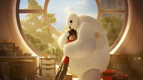 Hiro and his robot Baymax in a scene from Big Hero 6.