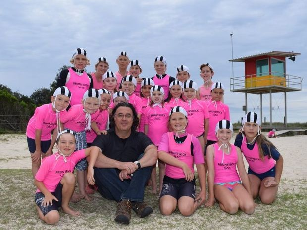 FALLS: Brandon Saul, Falls Festival Byron Director, with Brunswick Heads Nippers.