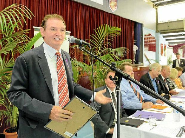 OUR TEAM: Mayor Paul Pisasale at a full council meeting held at the Ipswich High School.
