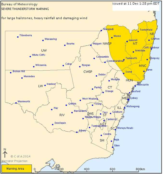 A severe weather warning has been issued for Northern NSW.