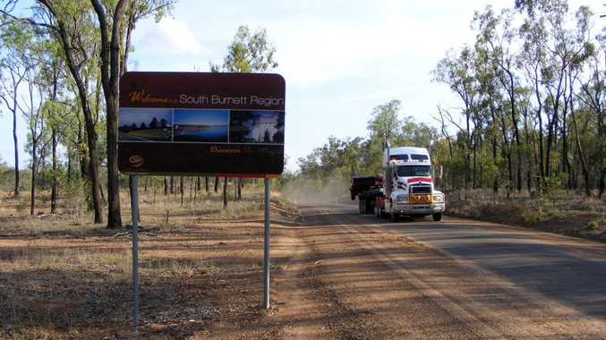 BORDER LINE: At the boundary between the North and South Burnett Mundubbera-Durong Rd changes from a two lane highway to a goat track. Photo Michael Nolan / South Burnett Times