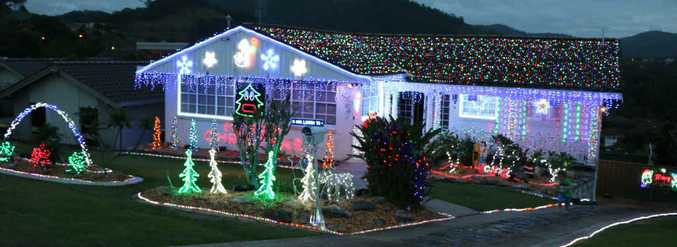 STUNNING: The Stevens' family home in Macauleys Headland Dr is once again a beacon of the festive spirit.