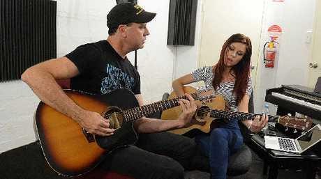 JAMMING: Jay Collie and Caitlyn Shadbolt jam at the AICM.