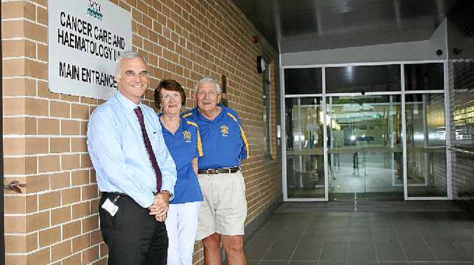 LIFE SAVING: North Coast Cancer Institute director Professor Tom Shakespeare with Rotary Club of Lismore members Carol and Brian Wheatley. The club has so far raised $6000 for Lismore Base Hospital to purchase a transperineal probe.