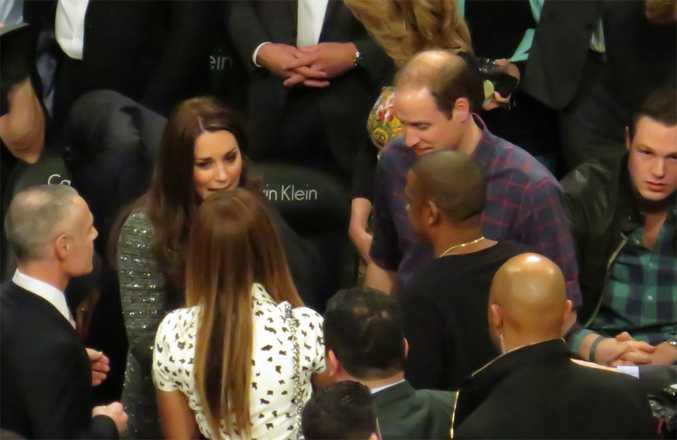 Beyonce Knowles, Jay Z, Duchess Catherine and Prince William at the Brooklyn Nets basketball game