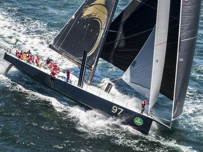 Maxi yacht Beau Geste is shown taking part in the Rolex Sydney to Hobart race.