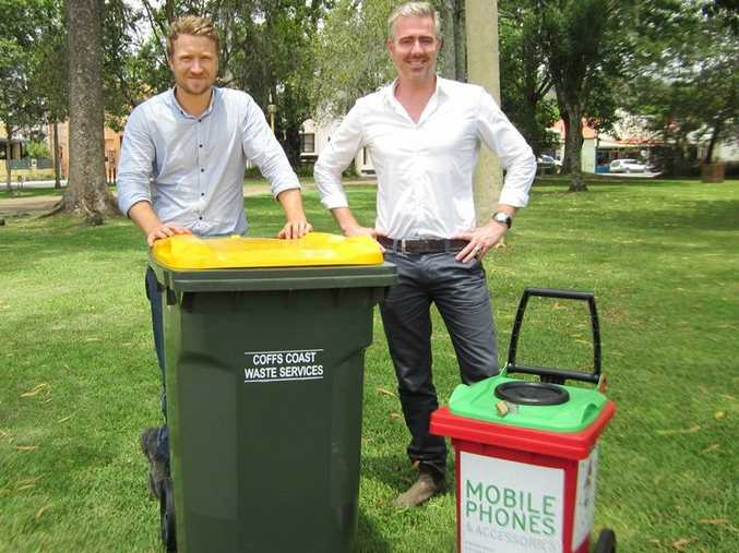 A sustainability and waste reduction team led by Dan Schiebaan (left) and Sam Tate has helped Bellingen Shire become top waste recyclers in NSW.