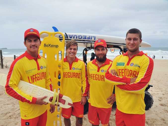 International Lifeguards on the Sunshine Coast for the summer season from left is Mat Meyer, Bert Wight, Guy Holling and Houston Park. Photo: Greg Miller / Sunshine Coast Daily