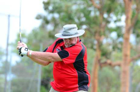 Errol Dionysius swings from the tee. Photo Brandon Livesay/ South Burnett Times
