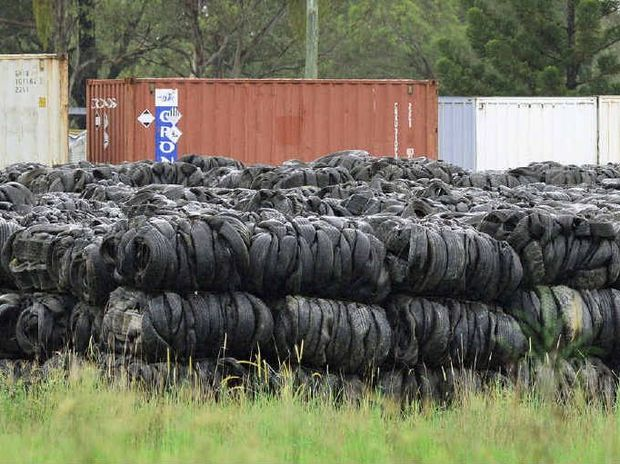 DUMPED: An estimated 80,000 used tyres are stored at this Haigslea property (above) while around 100,000 are stacked up at Kholo.